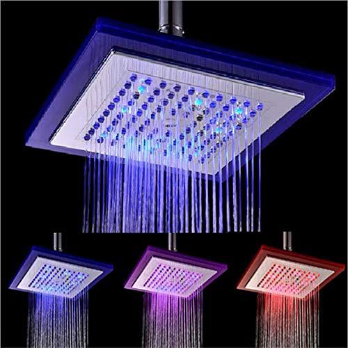 LED Duschkopf Mit Automatischer 3 Farbwechsel Glühen Streamlight Handbrause Dusch Kopf Für Badezimmer Waschraum Hause 8In / Blau