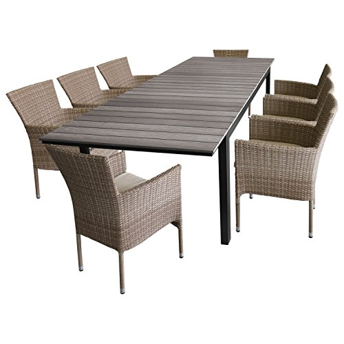 9tlg. Terrassenmöbel Gartenmöbel Set Gartengarnitur Sitzgruppe – Gartentisch, Polywood-Tischplatte grau, ausziehbar, 200/250/300x95cm + 8x Polyrattan Stapelsessel 'Nature' inkl.