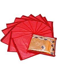 Ashion Bizz Red Non Woven Saree Bags Set Of 12