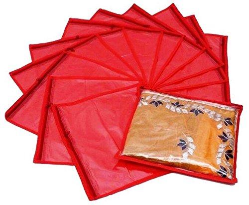 Fashion Bizz Red Non Woven Saree Bags Set of 12
