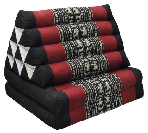 Wifash Cojín Triangular tailandés con colchón 2Piezas Plegables, Negro/Rojo con Elefantes (81602)
