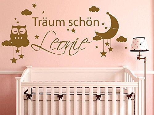 Preisvergleich Produktbild Wandtattoo Eule Aufkleber Kinderzimmer Mädchen Spruch Träum schön Wunschname (83x40cm // 072 hellgrau)