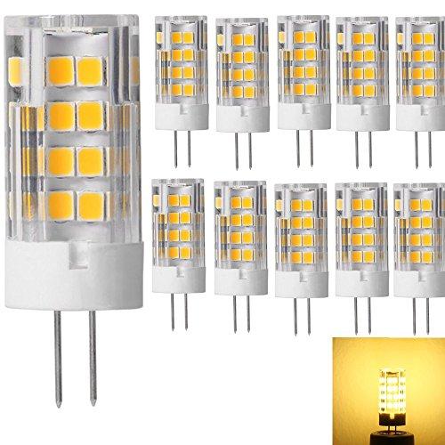 G4 LED Lampe Birne - 10er-Pack G4 LED Lampen Leuchtmittel 5W 380 Lumen [Ersetzt 40W Halogen, AC/DC 12V, Warmweiß, 360° Abstrahlwinkel] G4 LED Leuchtmittel Transparenten Keramik