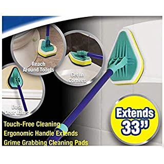 Shine 3 in 1 Extendable Tub and Tile Scrubber with 3 Cleaning Pads-Telescopic Cleaner ... ..., White/Green, 42.4 x 11 x 4.8 cm