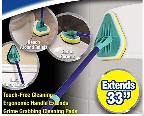 Exfoliante extensible para tina y azulejos con 3 almohadillas de limpieza
