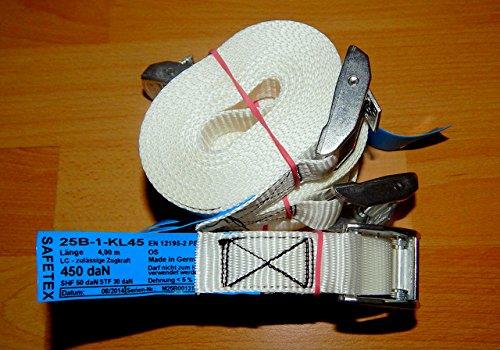 Zurrgurt Bindegurt Spanngurt Gurte Klemmschloss 4m lang, 25 mm breit, LC 450 daN, PES,DIN: EN12195-2