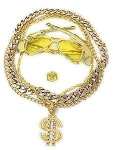 Babo Lude Macho Prolethen HipHop Rapper Sets 4 bis 5 teilig Ketten Brille Ring (Coltbrille-Dollarkette)