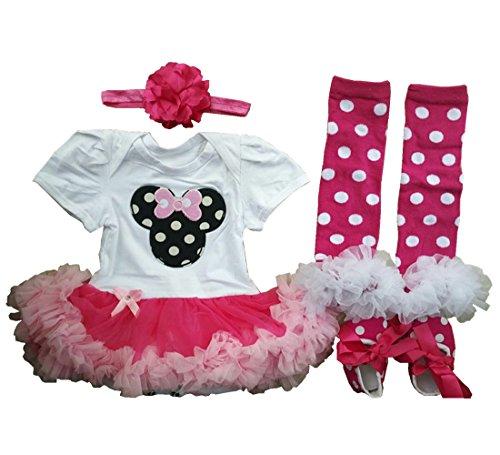 Sallyshiny Infant Neugeborenen Baby Mädchen Strampler Kleid Outfit Body Tutu Rock Cartoon Kleidung 4-teiliges Set Kopfband Schuhe Beinwärmer, Mehrfarbig