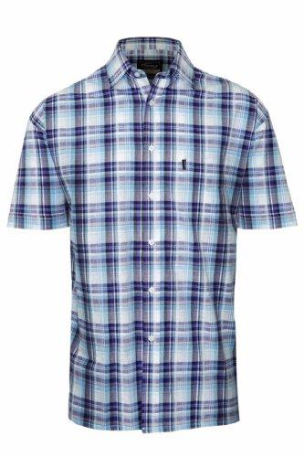 Champion Herren Legere Shirts Freizeit-Hemd, Kariert Blau - Blue Gowran