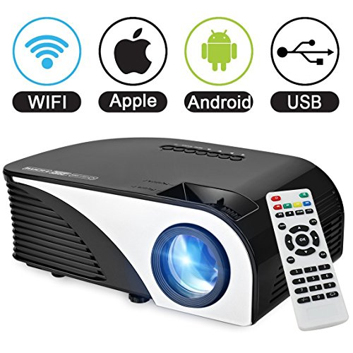 Android-Betriebssystem Beamer, SEGURO Android Smart Projektor HD Video Heimkino Tragbarer LCD Beamer mit 1700 lumen Unterstützung 1080P USB /AV/HDMI/VGA/für Xbox/iphone /Smartphone/PC Home Theater 3d-1000watts
