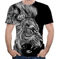 Feng Cuello Redondo Manga Corta de los Hombres de Manga Corta Camiseta de impresión 3D León,S