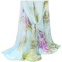 Leisial Pañuelos Gasa de Larga Bufanda Delgada del Abrigo del Mantón de Suave Gasa de Chal Seda Verano para Mujer,Negro + Blanco 160*50cm