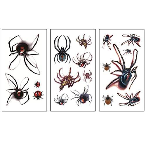 oween Tattoo Aufkleber Gesicht und Körper Spinne Aufkleber wasserdicht temporäre Tätowierungen dekorative Aufkleber für Erwachsene ()