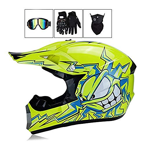 L Woljay Off Road Helm Motocross-Helm Motorradhelm Motocrosshelme Fahrrad ATV Rockstar Wei/ß