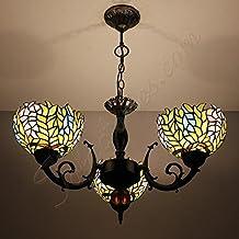 New morado Wisteria hecho a mano vidrio Tiffany lámpara de araña–3luces