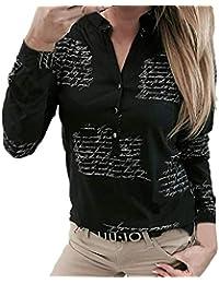 5fa9a5e71338 Modaworld Donna Camicia Bluse Donne Scollo a V Lettere Pulsante di Stampa  Manica Lunga T-