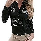 NPRADLA 2019 Shirt Damen V Ausschnitt Buchstaben Druckknopf Langarm Tops Bluse(Schwarz,XXXL)