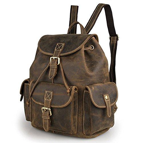 Everdoss Herren echt Leder Schulrucksack Schulranzen Freizeitrucksack Backpack modisch Daypacks Reiserucksack