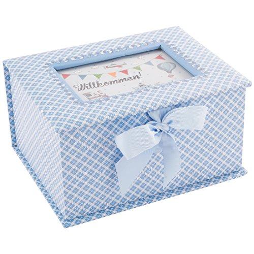"""Erinnerungsbox """"Prinz"""", Geschenk zur Geburt oder Taufe, hellblau (Geschenk Karte Boxen)"""
