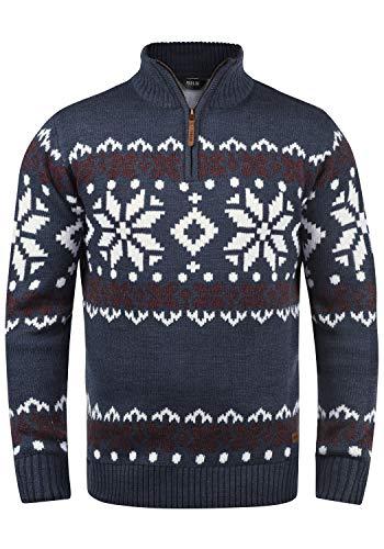 !Solid Norwin Herren Weihnachtspullover Norweger-Pullover Winter Strickpullover Troyer Grobstrick mit Stehkragen, Größe:M, Farbe:Insignia Blue Melange (8991)