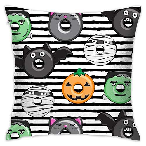 odin sky zierkissenbezug 45x45 Halloween Donut Medley - Black Stripes - Monster Kürbis Frankenstein Black Cat Dracula_4392 100% Baumwolle, Wohnzimmerdekoration, Heimsofa, Büro, Auto.