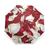 EnnE Regenschirm weiß und Rot Rose Regenschirm Regen Winddicht Faltbarer Regenschirm Sun Leicht zu Tragen Travel Compact Regenschirm Leicht