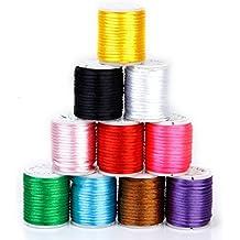 SODIAL(R) 10 Rollos Hilo De Nylon Cuerda Encerado De Mezclamiento Del Color Para Cadena De Cuentas 2 mm