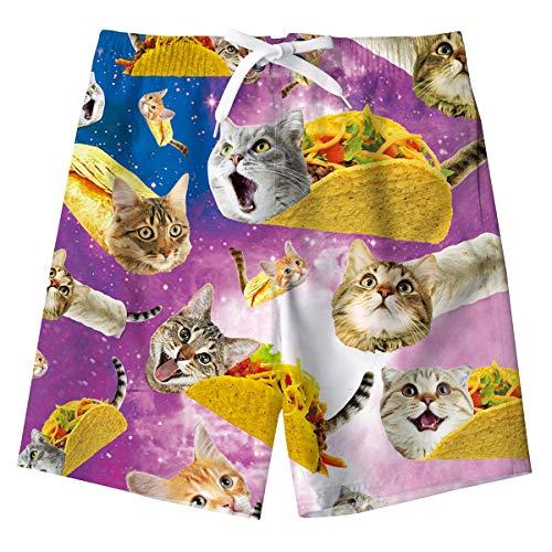 Spreadhoodie Jungs Badeshorts Süß 3D Katze Printed Kinder Funny Badehose Sommer Boardshorts Sports Kurze Schnelltrocknend Hosen mit Netzfutter 6-8 Jahre