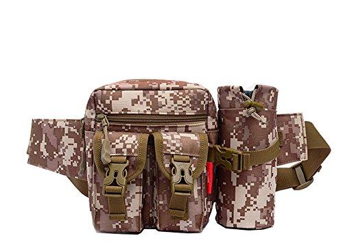 wewod Sport marsupio Tactical con borraccia e cinghia regolabile/Marsupio custodia per campeggio escursionismo Outdoor/Mode multifunzione kit bag, Digital-Dschungel marrone