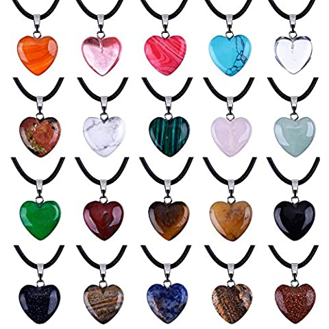 0.63 Inch Heart Stone Pendants Assorted Color Chakra Beads Crystal Charms with 18 Inch Black Braided Imitation Leather Cord Necklace Chain, 20