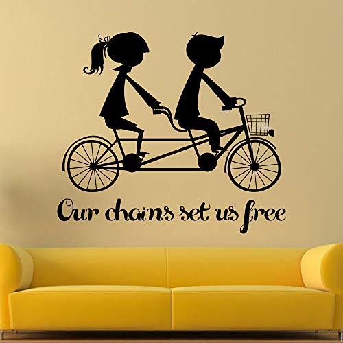 Romantische Kunst Wandtattoo Liebhaber Reiten Fahrrad Silhouette Home Schlafzimmer Süße Dekorative Vinyl Wandaufkleber Spezielle Wandbilder WM 45x52 cm