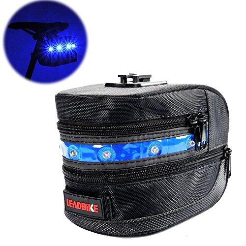 Fahrrad Sattel Tasche, urvoix (TM) erweiterbar unter dem Sitz Tasche mit LED-Leuchten für Nacht Radfahren Sicherheit, Blau Licht (Sport Tail Pack)