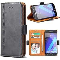 Samsung Galaxy A5 2017 Hülle, Bozon Leder Tasche Handyhülle Flip Wallet Schutzhülle für Samsung Galaxy A5 2017 mit Ständer und Kartenfächer/ Magnetic Closure (Dunkel-Grau)