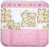 Baby Auflage Wickelauflage - BÄRCHEN ROSA - 70x50 cm 70x70 cm 70x85 cm Wickeltischauflage 70x85 cm