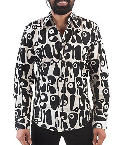 70er Jahre Herren Partyhemd schwarz weiß Hippie Look M