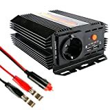 400W Spannungswandler 12V auf 230V,GOGOLO DC 12V zu AC 220V Konverter Stromwandler 5V / 2.4A Dual USB Ladegerät Deutsch Outlet mit Sicherung, CE TUV