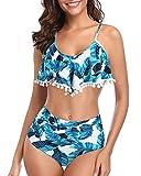 Misolin Damen Bikini Set High Waist Ruffles Bademode Zweiteilige Schulterfrei Volant Crop Bademode Tankini Bommel/Blau M