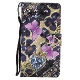 Sony Xperia Z3 Hülle, Hozor Handy Schale Kratzfeste 3D PU Leder Flip Case Wallet Cover Bunt Gemalt Muster Schutzhülle mit Kreditkarte Ständer Book Style Handytasche - Rosa Schmetterling