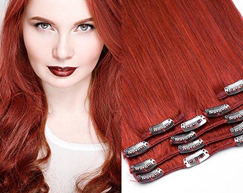 Remy Clip In Extensions Set 100% indisches Echthaar 7 teilig 100 gramm Echthaar für komplette Haarverlängerung 60 cm Clip-In Hair Extension Nr. 350 Kupfer