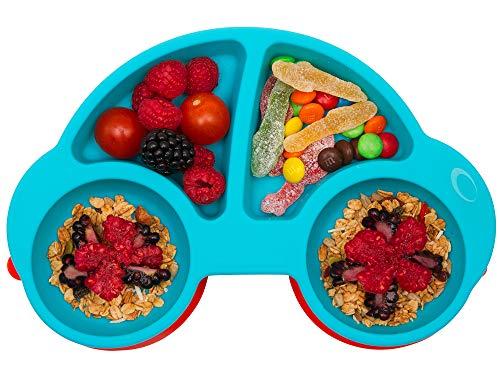 Qshare Piastre per neonati silicone piastre per bambini portatili per bambini aspirazione potente su tavola lavastoviglie e microonde sicura dalla FDA