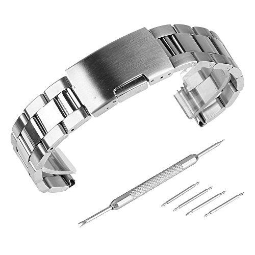 Beauty7 - 22mm Silber Edelstahl Uhrenarmband Uhrenarmbänder mit Faltschließe Metall Uhr Armband Zubehör 4 Federstege und Federstift