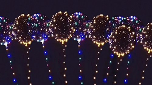 Unbekannt 10-er Set LED Ballon warmweiß/bunt 30LED - leuchtende LED Luftballons als Dekoration für...