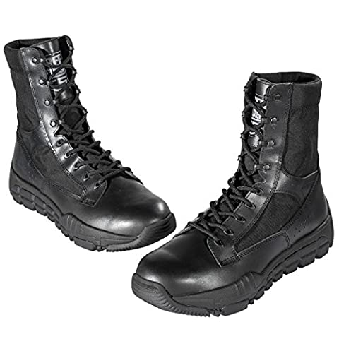 FREE SOLDIER Men's Military Patrol Work Hiking Boots Tactical Stellar Shoes Leather Desert Combat Boots (Black UK9)