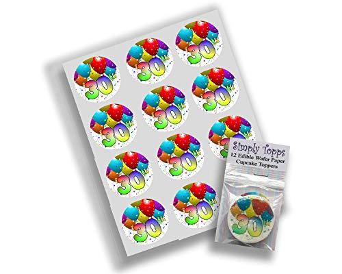 12 30. Geburtstag reispapier märchen / cup cake 40mm toppers dekoration (Märchen-geburtstag Dekorationen)