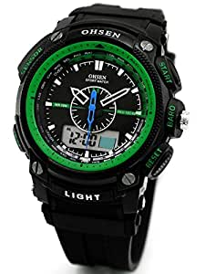 Alienwork LED Analogue-Digital Watch Chronograph Wristwatch Multi-function Rubber green black OS.AD1209-5