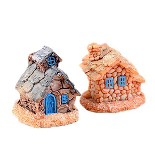 Oyfel Miniature Fairy Garten Deko Dekoration Aquarium Dekoration DIY Muster für Zuhause, Outdoor, mit Schloss, 13,5x 16cm House (Aquarium Dekoration Garten)