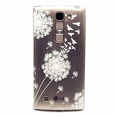 MUTOUREN LG Magna H502 /G4c H525N /G4 Mini/C90 case cover Mobile phone protective cover TPU silicone transparent clear thin silicone anti scratch bag case with simple patterns- White Dandelion