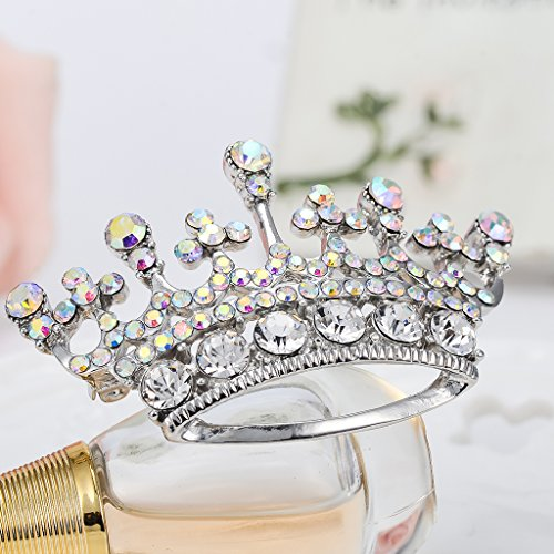 Reina De La Moda De La Corona De La Tiara Del Diamante De Diamantes De Imitación De Plata De Corea Del Sur Broche