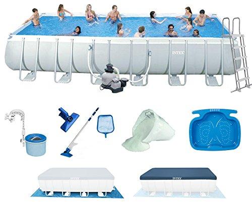 INTEX 732x366x132 cm Ultra Frame Swimming Pool 28362 Komplett-Set mit Extra-Zubehör wie: Filterglas, Reinigungsset, Skimmer und Fußbad