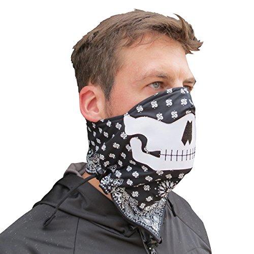 Grace Folly Half Face Gesichtsmaske für kaltes Winterwetter. Diese Halbmaske ist für Snowboard, Ski, Motorrad geeignet. (in vielen Farben lieferbar) (Schädel (Schwarz/Weiß))